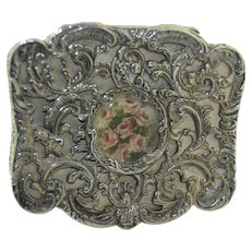 Levi & Salaman Sterling Silver Box with Hand Painted Watercolor Miniature 1892