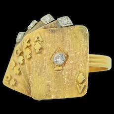 14K  Platinum & Diamond Royal Flush Gamblers Ring