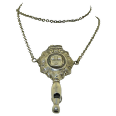 Fun Victorian Sterling Silver French Cherub Whistle Rattle Necklace