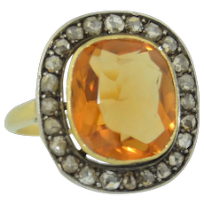 Victorian 18K Rose Cut Diamond & Citrine Halo Ring