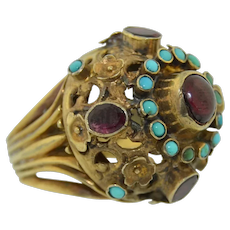 Large Austro Hungarian Sterling Silver Turquoise and Garnet High Dome Ring
