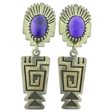 Signed Navajo Native American Sterling Silver & Sugilite Earrings by Mitchell Toney