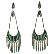 Signed Jeannie Lastiyano Zuni Needle Point Turquoise Native American Earrings