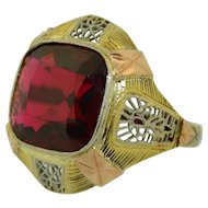 Art Deco Garnet 14K Yellow White & Rose Gold Filigree Ring