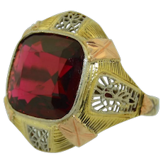 Art Deco Garnet 14K Yellow White & Rose Gold Filigree Ring
