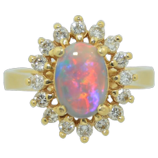 14K Fine Opal Ring with 1/2 CTW Halo of Diamonds