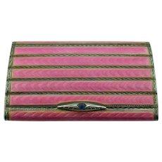 Swiss Guilloche Enamel Ladies Cigarette Case export to Germany Art Deco