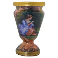French Enamel On Copper Hand Painted and Signed by Gamet Vase