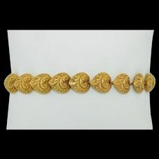 Victorian 18K Puffy Rococo Love Heart Bracelet