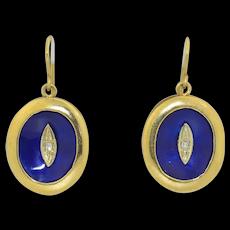 Retro 18K Enamel & Diamond Earrings