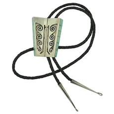 Navajo Signed Sterling Silver with Inlayed Turquoise Bolo Tie