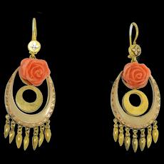 Victorian 18K & 14K Coral Dangle Fringe Earrings
