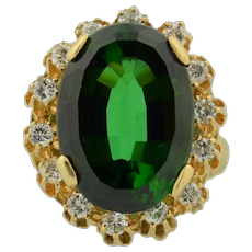 14K Verdelite Green Tourmaline & Diamond Halo Ring