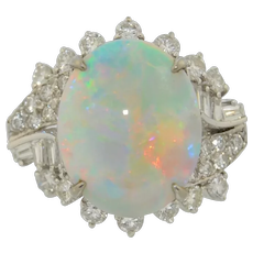 14K Australian Jelly Fire Opal & Diamond Ring