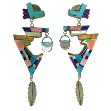Lengthy Sterling Silver Native American Zuni Inlay Earrings