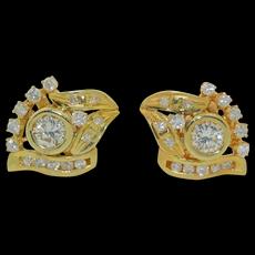 1.5 CTW Diamond Earring in 14K Yellow gold