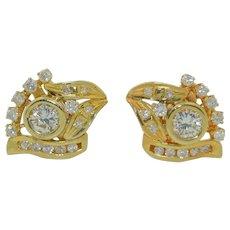 1.5 CTW Diamond Earrings in 14K Yellow gold