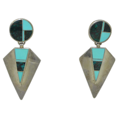 Ray Tracey Knifewig Navajo Native American Sterling silver earrings