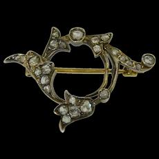 Victorian 18K Rose Cut Diamond Pin - Brooch