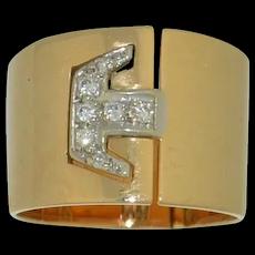 Extra Wide Hinged 14K & Diamond Ring