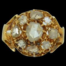 Victorian 18K  Rose & Single Cut Diamond Halo Ring