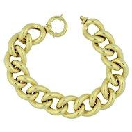 14K Extra Wide Hollow Link Gold Cable Link Bracelet 2 CM Wide