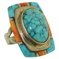 Benny Armayo Native American Sterling silver Turquoise & Coral Ring