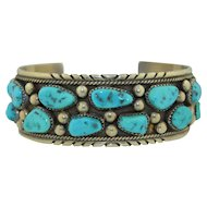 Navajo Signed Linda Johnson Sterling Silver & Turquoise Cuff Bracelet