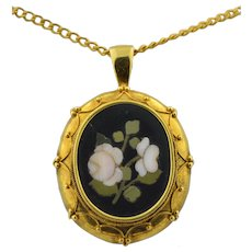 Victorian 18K Pietra Dura Etruscan Revival Pendant with Roses