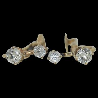 Art Deco Double drop Diamond Earrings in 14K Pierced