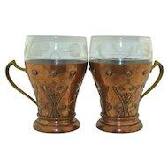 Art Nouveau WMF Wurtemburgische Machin Fabrik  Copper & Glass cups (2)