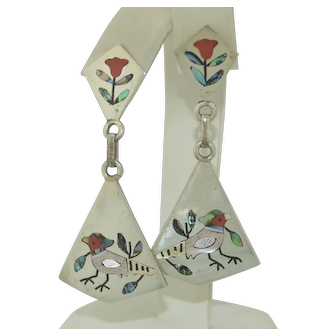 Zuni Sterling Silver Inlay Signed Earrings by S C Edaakie Native American