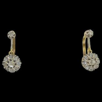 Victorian 18K French Rose Cut Diamond Earrings