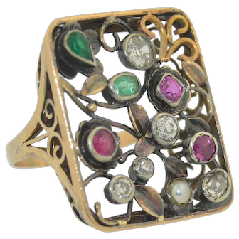 Antique 14K Diamond Emerald  Ruby & Pearl Large Statement Ring