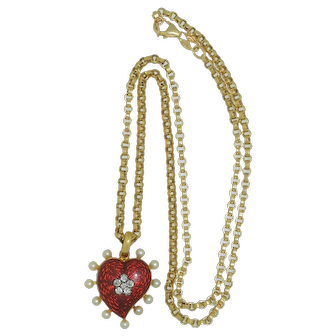 Georgian 18K Witches Heart Red Enamel Diamonds & Pearl Necklace