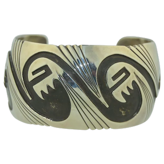 Signed Navajo Sterling silver Overlay Bear Paw Wide Cuff Bracelet