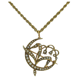 Art Nouveau 14k Lilly of the Valley Pendant Pin Watch Pin