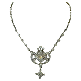 Edwardian Austro Hungarian Silver and Paste Necklace