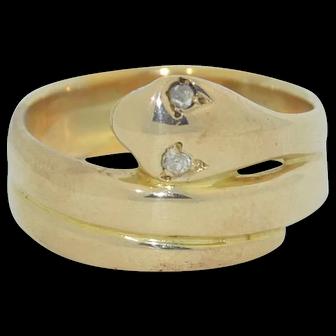 Victorian 10K Diamond Eye Snake Coil Ring