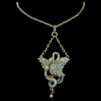 Austro Hungarian 800 Silver Enamel Swan & Snake Necklace