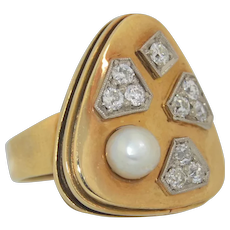 Retro 14K Diamond and Pearl Modernist Ring