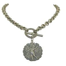 Romantic Victorian Putti Cherub  Sterling Silver Toggle Necklace