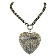 Sterling Silver Extra Large Love Heart Pendant Vesta