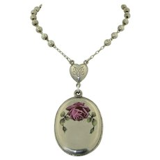 Edwardian 800 Silver Rosary with German Silver Enamel locket