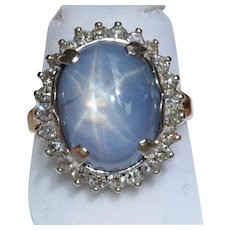 Natural 19CT Star Sapphire & Diamond Halo Ring