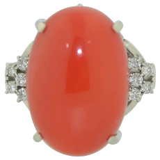 Platinum Red Coral & Diamond Ring
