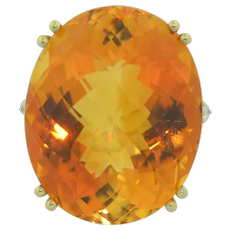 Vintage 38.5 Carat Citrine & Diamond Ring 14K Yellow & White Gold