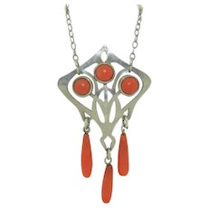 Arts and Crafts Sterling Silver & Natural Coral Necklace