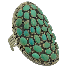Signed Navajo Michael Perry Sterling Silver Cobble Stone Green Turquoise Large Cuff Bracelet