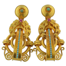 Stunning 14K Victorian Turquoise & Ruby Earrings